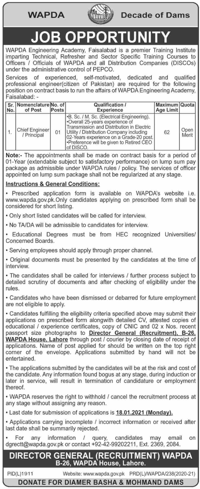 WAPDA Jobs 2021 - Latest Jobs in WAPDA (Apply Online) - Water And Power Development Authority Wapda Jobs 2021