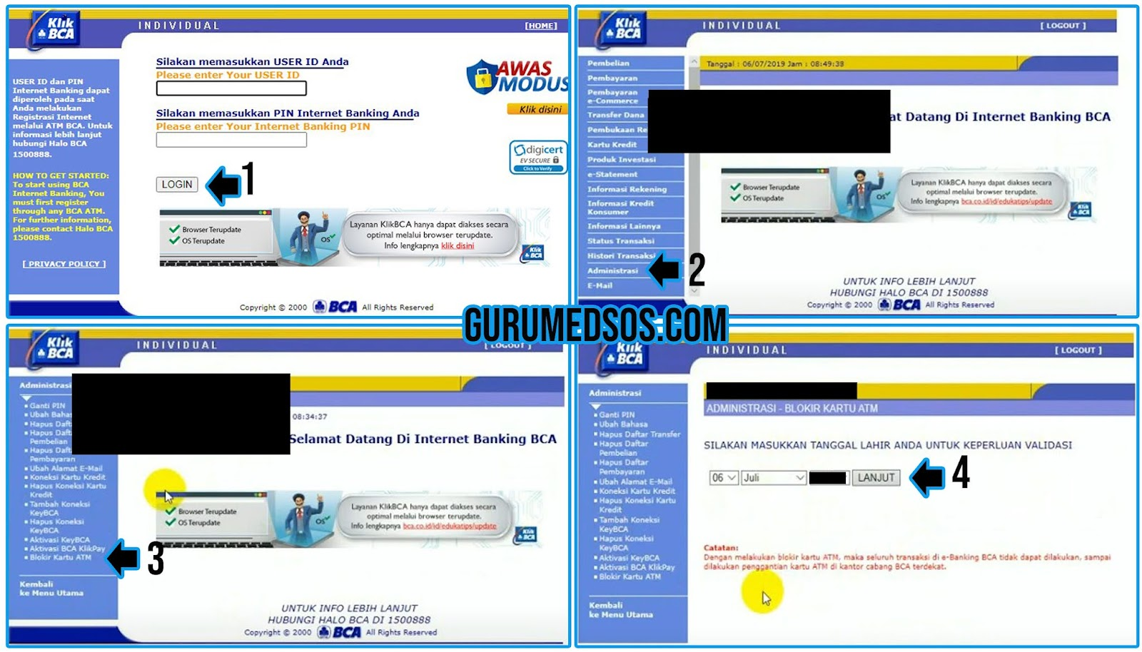 Cara Blokir ATM BCA Lewat Internet Banking