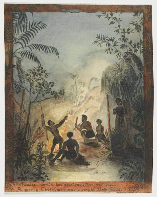 """Christmas Card design depicting indigenous people around a fire in the bush with the words """"Australia sends her greetings far and near, A Merry Christmas and a bright New Year""""."""