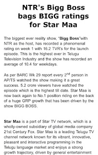 Official Note of Star Maa Bigg Boss TRP
