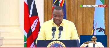 President Uhuru Kenyatta at statehouse address