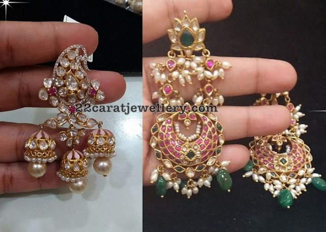 Trendy Kundan Earrings by Vajra Jewels