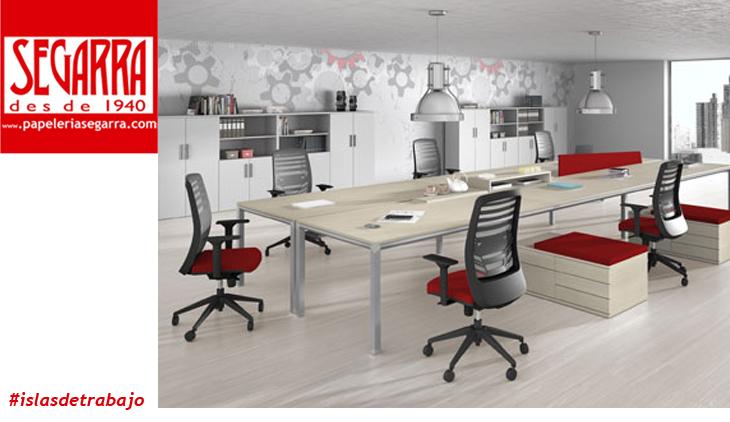 Puestos de trabajo compactos en isla oficinas for Empleo mobiliario oficina