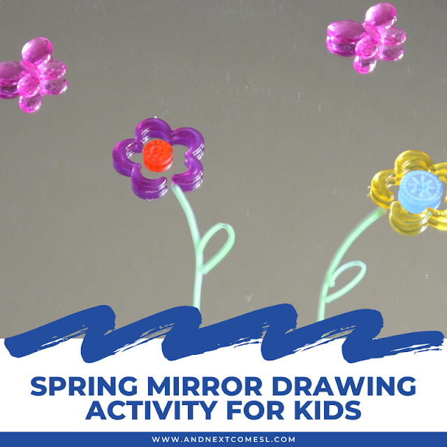 Spring mirror drawing for kids