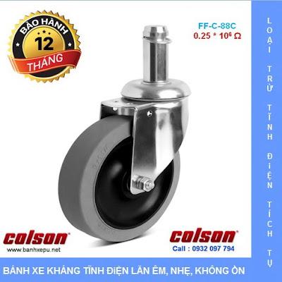 Bánh xe cao su chống tĩnh điện Colson Mỹ trục trơn phi 125 (5 inch) www.banhxeday.xyz