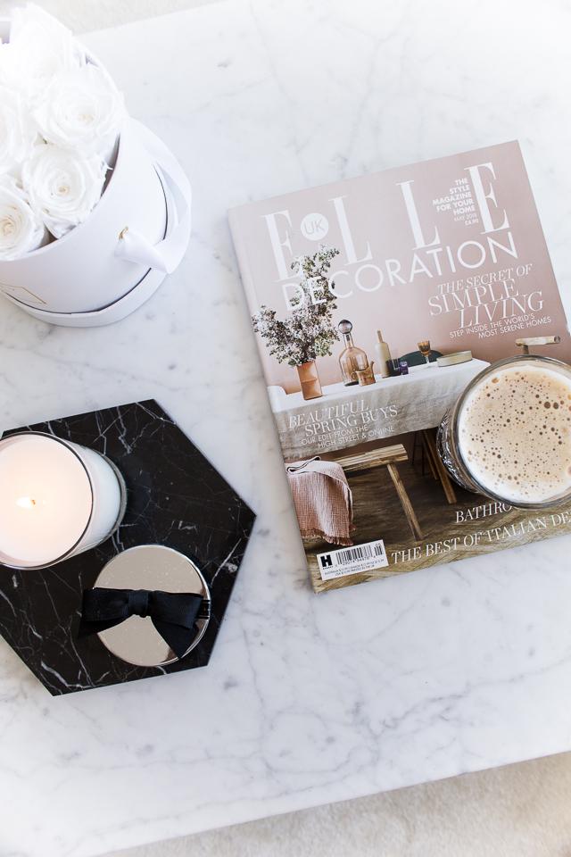 Villa H blogi, marmoripöytä, olohuoneen sisustus