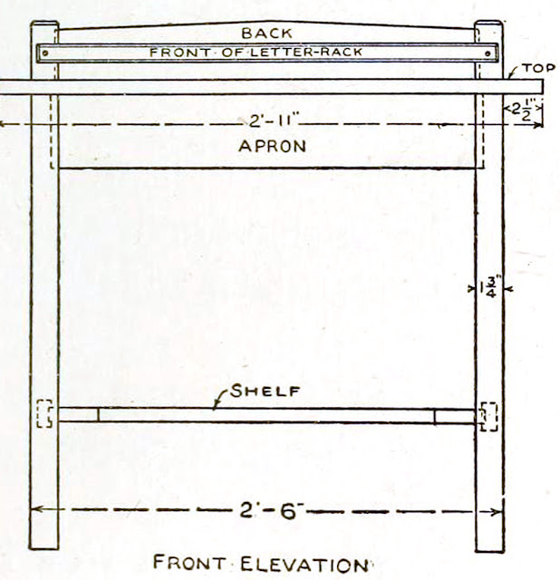 Mission style writing desk plans - How to build a mission writing desk - front of letter rack