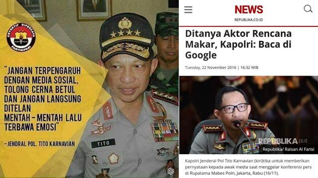 Tak Habis Pikir! Soal Makar Kapolri Suruh Cari di Google, Soal Ahok Kapolri Tidak Percaya Internet : kabar Terhangat Hari Ini