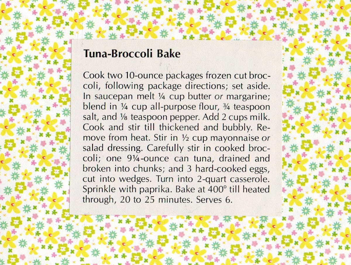 Tuna Brocoli Bake (quick recipe)