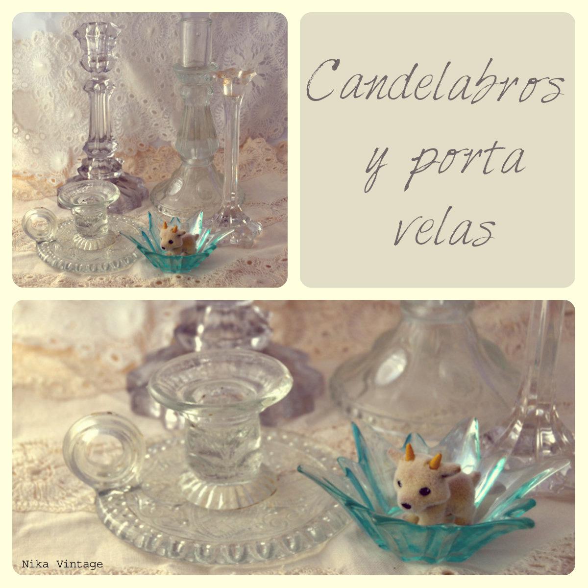 candelabros, candil, porta velas, complementos, objetos antiguos, mesa navideña, navidad, decoracion, cristal,