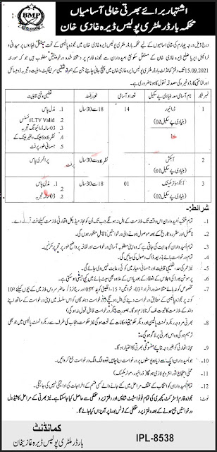 Latest Govt Jobs-Border Military Police Jobs in Pakistan 2021