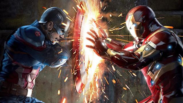 Capitão América vs Homem de Ferro Marvel Luta Cinema
