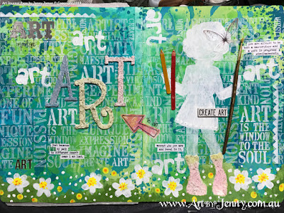 finished mixed media artwork by Jenny James featuring stencilling, heat embossing, painting and collage.