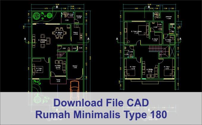 download rumah minimalis type 180 2 lantai file dwg autocad