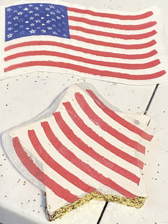 die cut American flag napkins