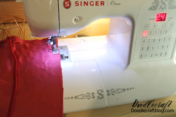 Step 4: Sewing Now sew a straight stitch on all 4 sides. Don't leave any of the edges open, the overlapped layer is the opening.