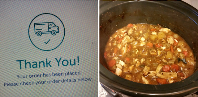 My Iceland order confirmation & chicken and veg in the slow cooker.