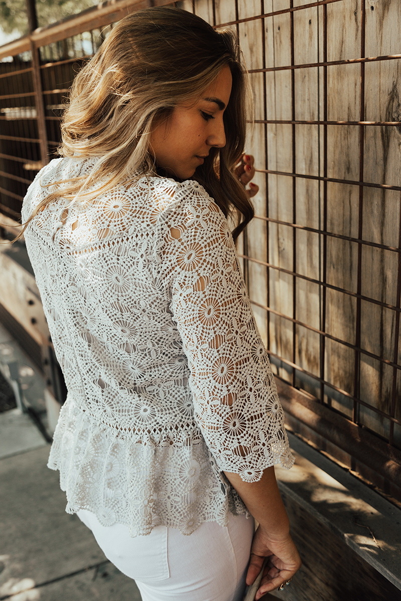 button detail on blouse, crochet clothing, delicate blouse