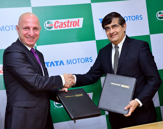 (L-R) Mr. Omer Dormen, MD, Castrol India Ltd and Mr. Mayank Pareek, President, Passenger Vehicle Business, Tata Motors at the signing ceremony held in Mumbai