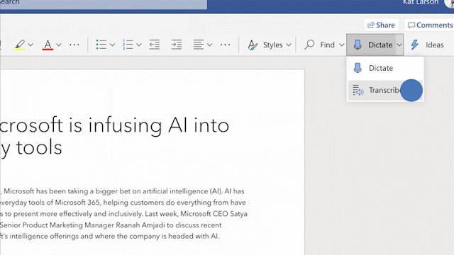 Microsoft Word For Web Has A New Transcribe Feature