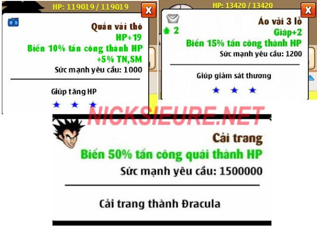 shop bán nick NRO Hồng Ân - set hút hp ngọc rồng online