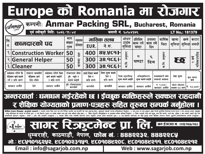 Jobs in Europe for Nepali, Salary Rs 45,581