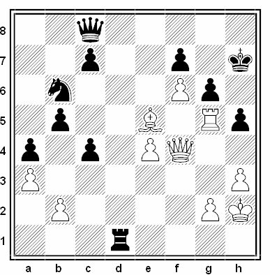 Posición de la partida de ajedrez Luiz Chiong - Gyozo V. Forintos (Mont St Michel Open, 1992)