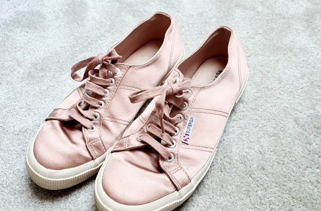 Superga pink satin trainers
