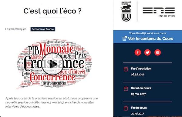 Capture de l'écran d'accueil de la page de présentation du Mooc C'est quoi l'éco