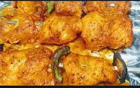 Crisp golden cooked fish tikka