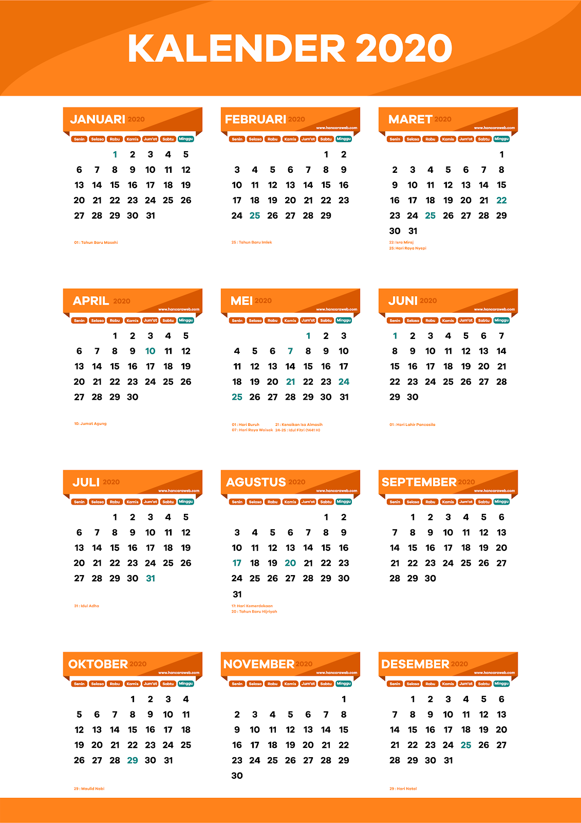 Download Kalender Indonesia 2020 Format Cdr Editable Png