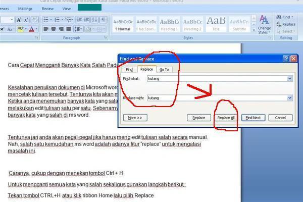 Kesalahan penulisan dokumen di Microsoft word biasanya diketahui saat kita akan mencetak t Cara Cepat Merubah Banyak Kata Salah Pada Ms Word
