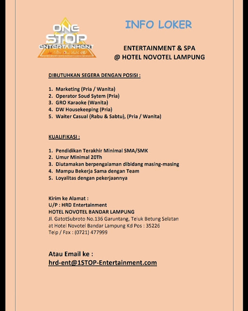 Info Loker Terkini Novotel Lampung