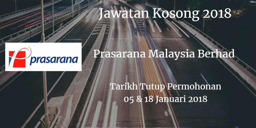 Jawatan Kosong Prasarana Malaysia Berhad 05 & 18 Januari 2018