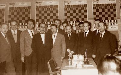 Ajedrecistas participantes en el Match España-Suiza de ajedrez disputado en 1961