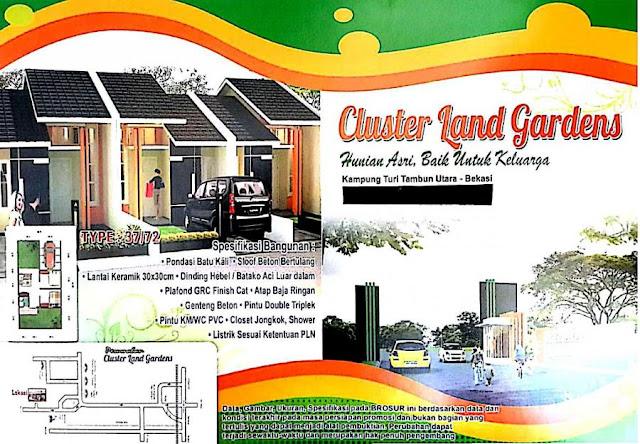 Land Gardens Rumah CLuster Komersil Di Tambun Utara Dekat Ke Harapan Indah
