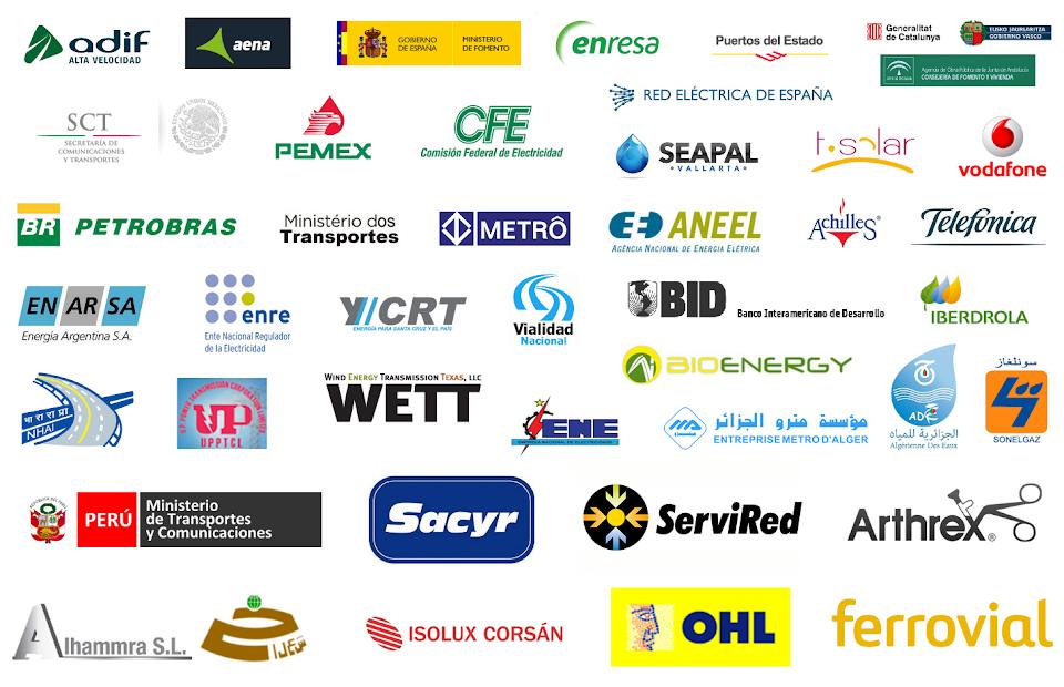 Experiencia Internacional en consultoría para el diseño, implantación y certificación de Sistemas de Gestión ISO 9001 ISO 14001 OHSAS 18001 - Organizaciones y clientes con los que han trabajado los Socios Directores de Cuevas y Montoto Consultores a lo largo de su carrera