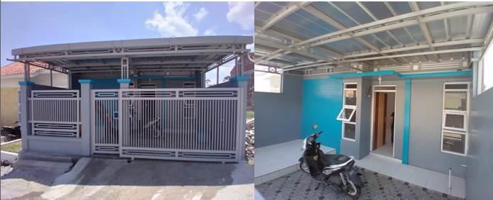 Warna depan rumah minimalis type 30 kombinasi biru dan abu