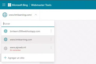 Seleccionar sitio bing webmaster tool