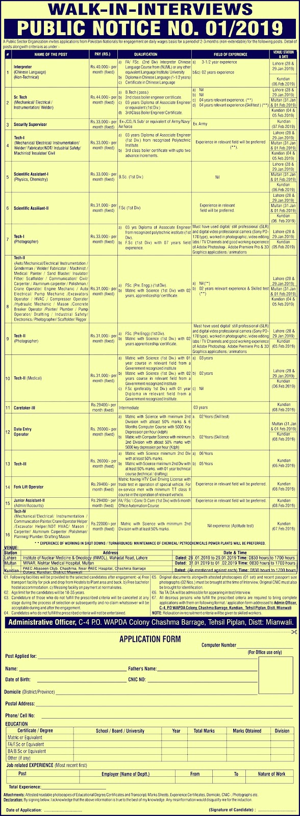 PAEC Atomic Energy New Jobs 2019 - PO Box 1331