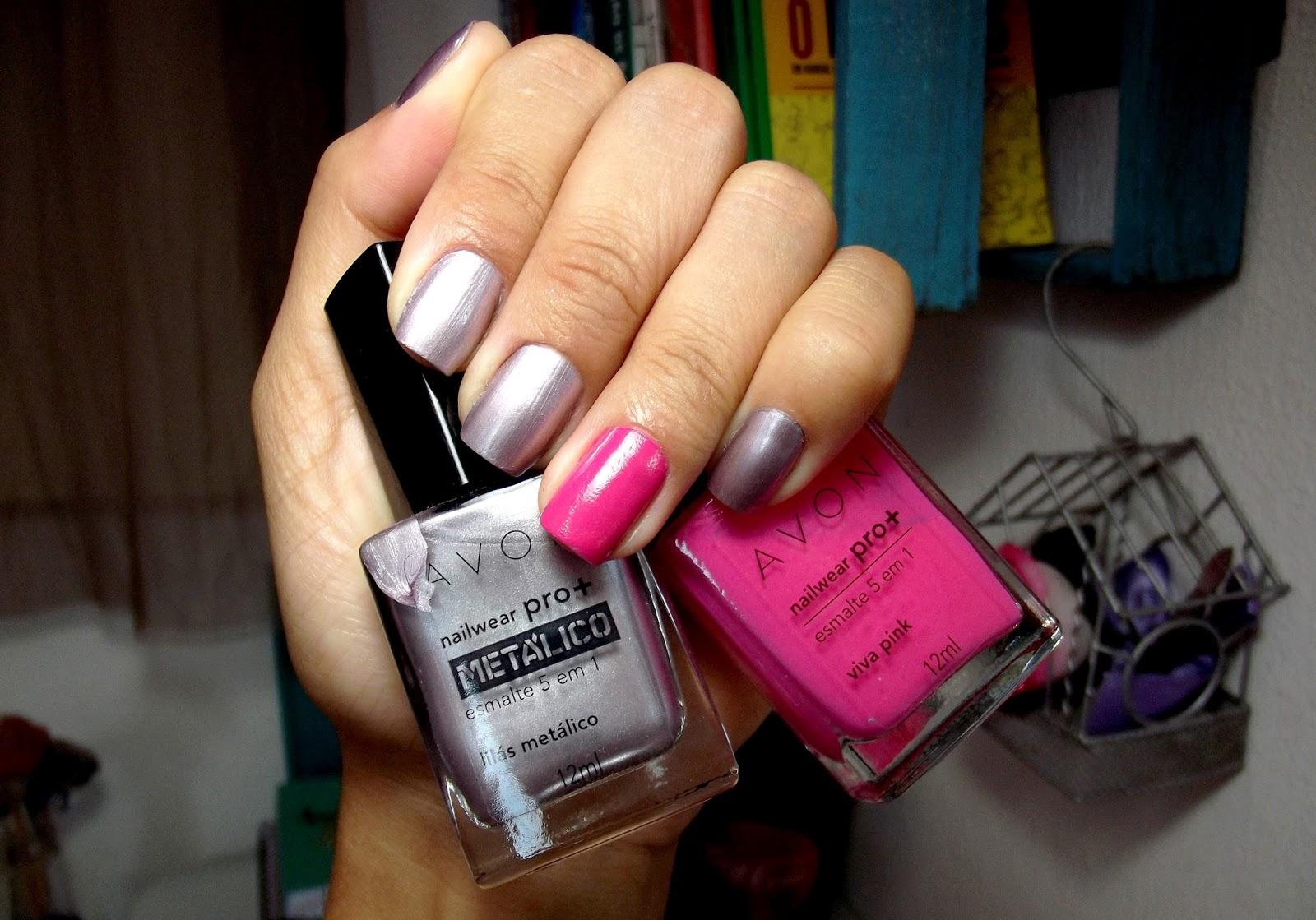 UNHAS DA SEMANA Lilás Metálico + Rosa Pink - Avon Nailwear PRO+