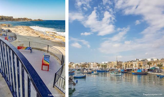 Porto de Marsaxlokk e a orla de Sliema, em Malta
