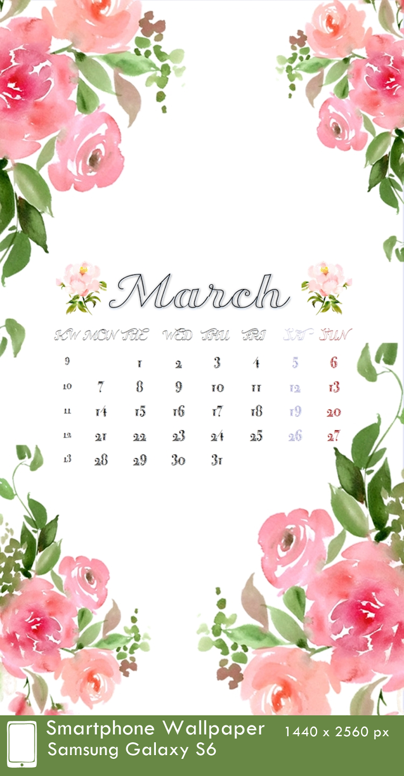 Samsung Galaxy S6 Wallpaper Calendar 3 March 1440 x 2560 px
