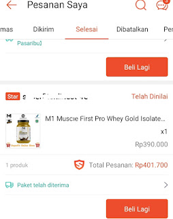 transaksi  pemesanan Whey Protein Muscle First pro Isolate