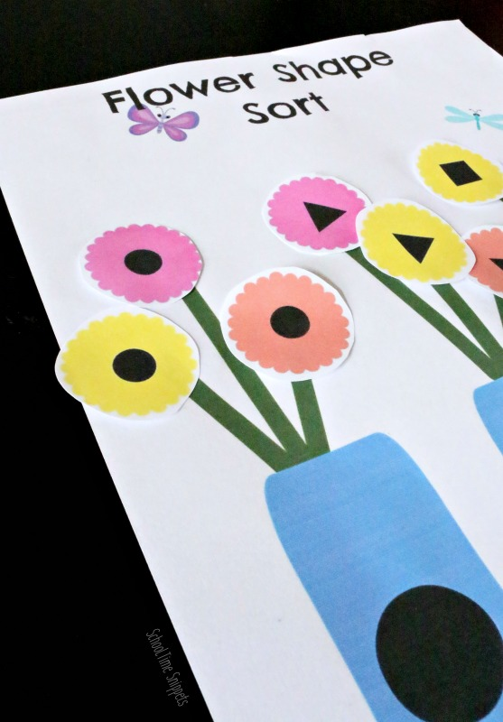 flower shapes matching printable