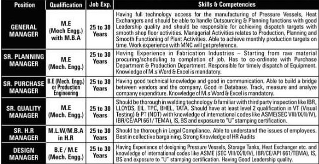 Sachin Industries Ltd Required BE/ ME Mechanical Candidates In Ahmedabad Plant