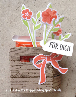 kleine Verpackung für ein Mini Ritterport mit Stampin' Up! Framelits Holzkiste