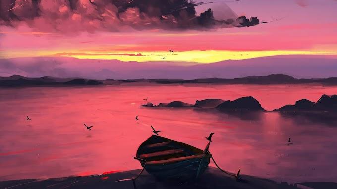 Canoa, Noite, Pôr Do Sol, Nuvens, Arte