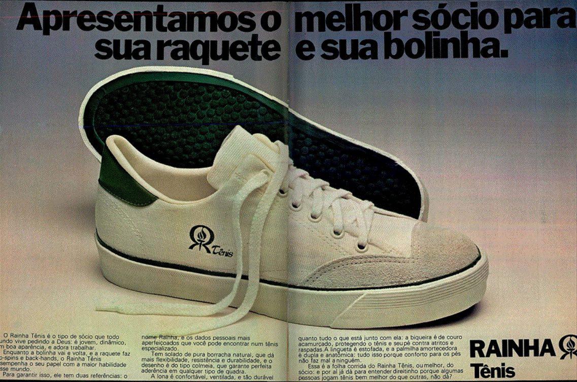 Propaganda antiga da Rainha promovendo seu modelo clássico de tênis em 1979