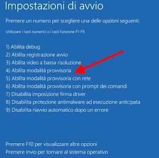 Modalità provvisoria Windows 10 - Seleziona 4